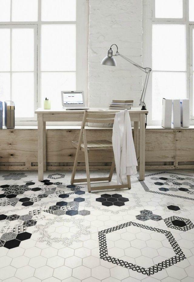 Mosaico de baldosas hidraulicas hexagonales