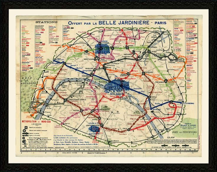 A wonderfully printed reproduction of an early-20th-century map of Paris. Vibrant red, green, and blue lines highlight train routes across the city. This map comes beautifully framed in antiqued...