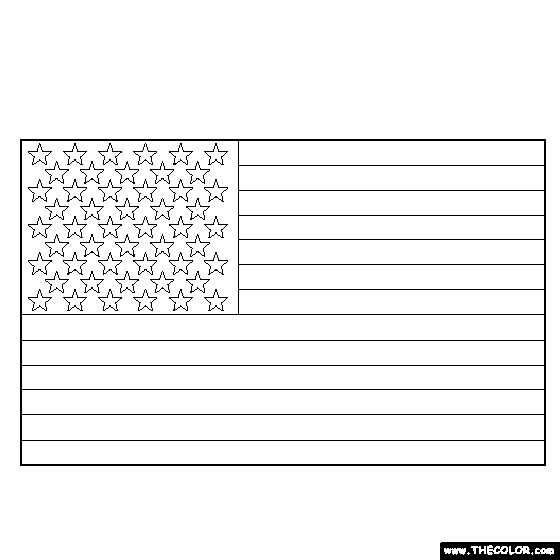 American flag coloring template coloring for kids for Coloring page of the american flag