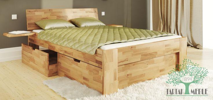 Łóżko Ole z dodatkowymi szufladami to nowoczesne połączenie drewna i funkcjonalności. #tartakmeble #lóżko #meble #drewno #bed