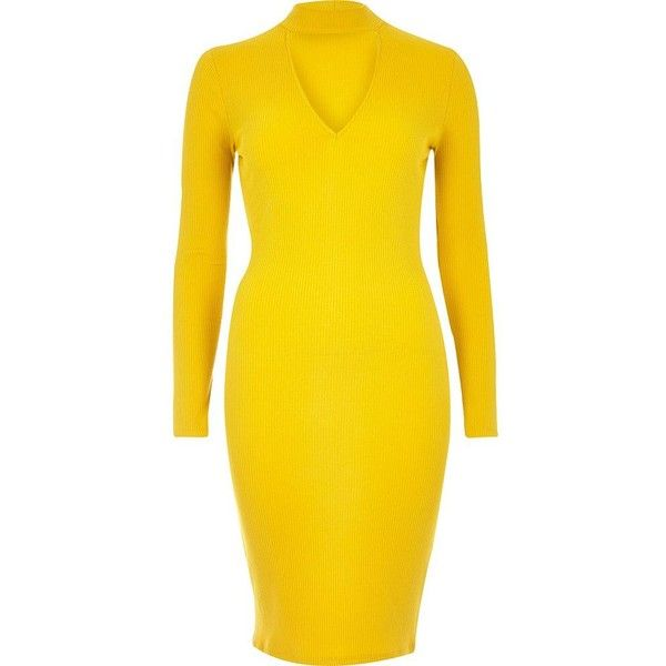River Island Yellow ribbed choker bodycon dress ($48) ❤ liked on Polyvore featuring dresses, bodycon dresses, women, yellow, ribbed dress, cotton dresses, ribbed bodycon dress, long sleeve bodycon dress and cutout dresses