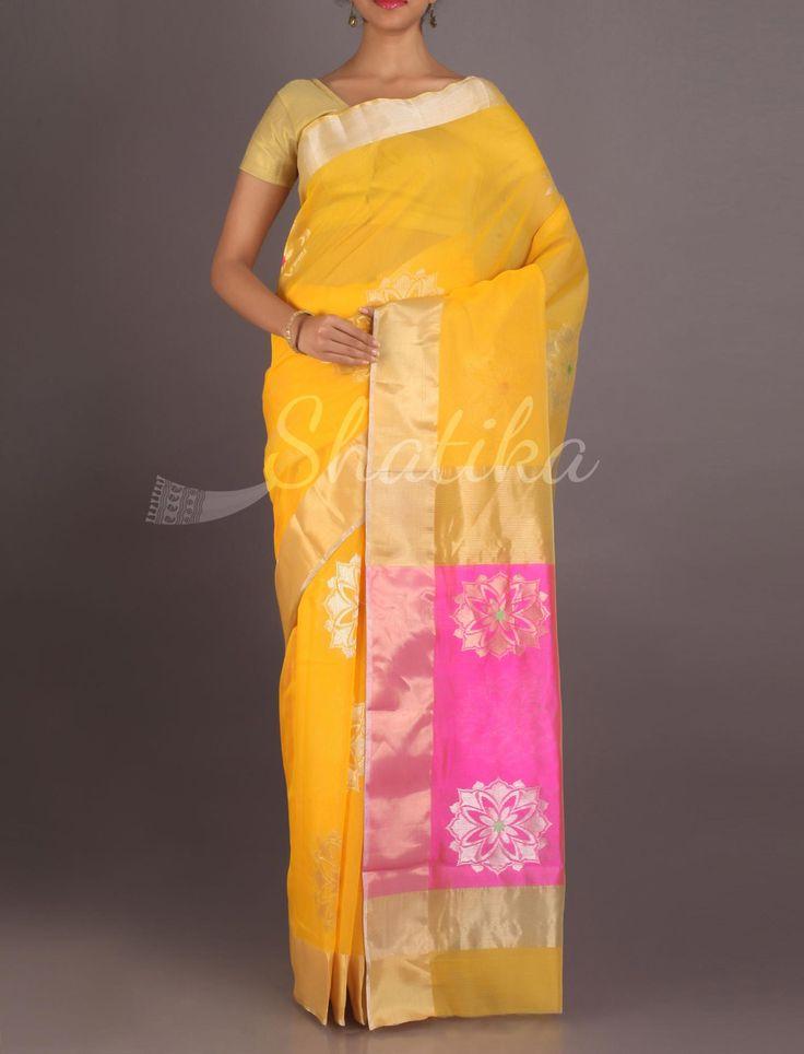 Sanskriti Fervent Yellow Bold Flower Motifs Real Zari #ChanderiPattuSaree