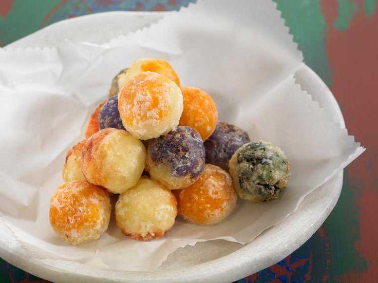 Croquettes de pommes de terre violettes, carottes et épinards