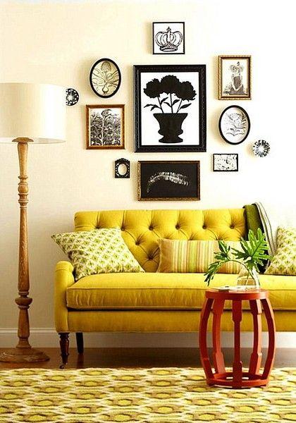 Желтый диван в интерьере фото