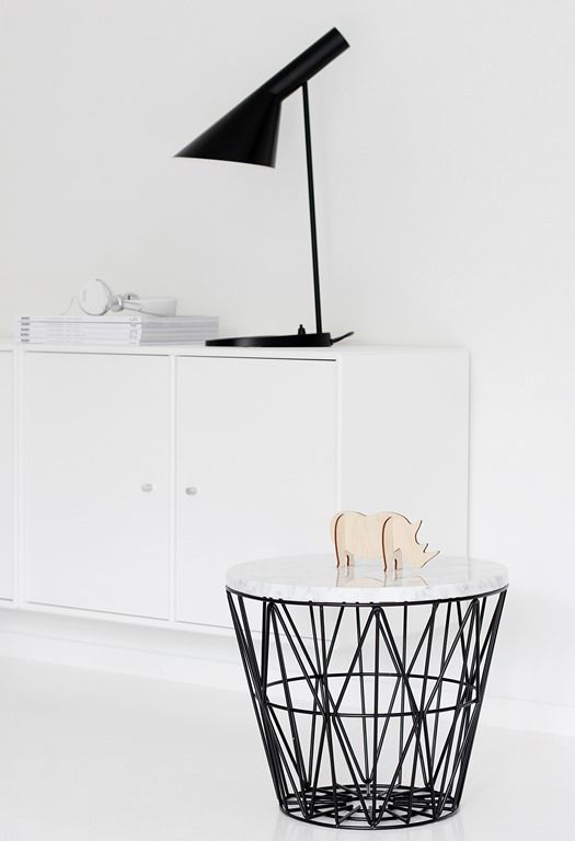 ferm living wire basket turned into a side table to do. Black Bedroom Furniture Sets. Home Design Ideas