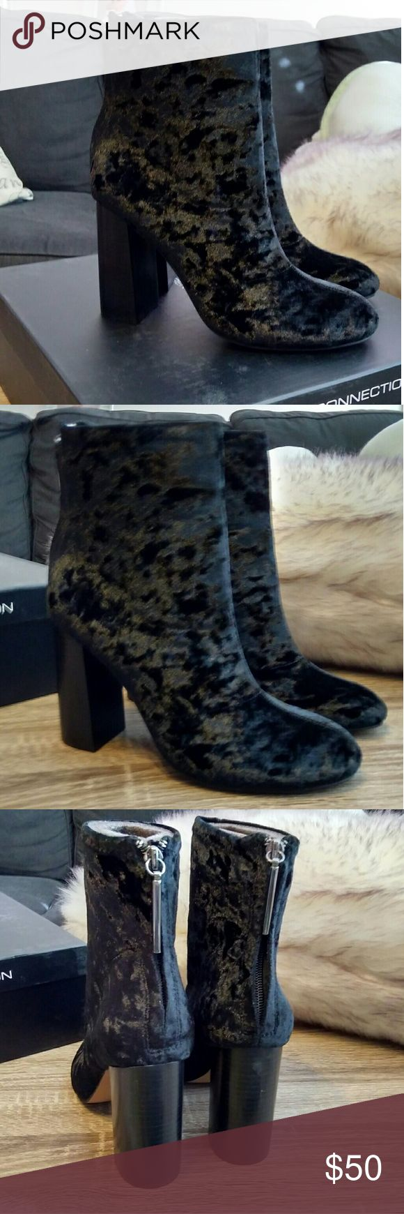 French Connection Velvet Boots Gorgeous black suede boots by French Connection. Brand New in box. Stylish zippers. French Connection Shoes Heeled Boots