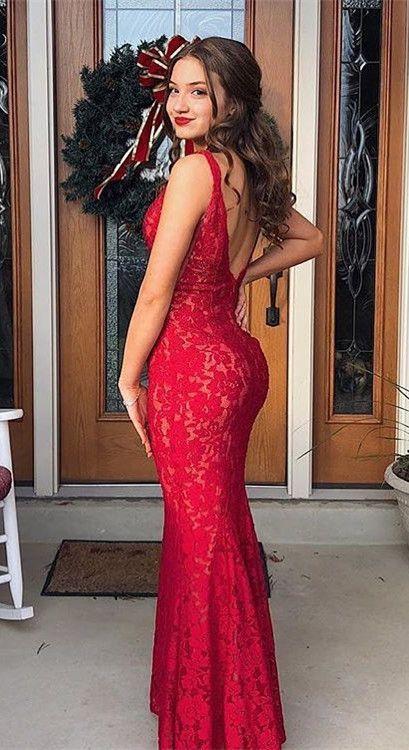 Mermaid Red Long Prom Dress with V Back, 2019 Mermaid Evening Dress Prom Dress