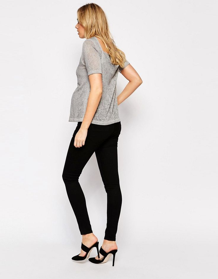 Image 2 ofASOS Maternity Ridley Skinny Jean in Clean Black with Over the Bump Waistband