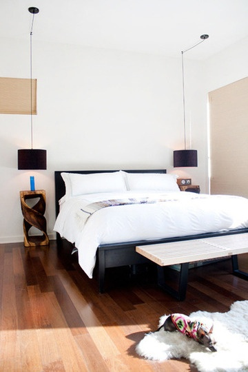pendant lamps beside bed