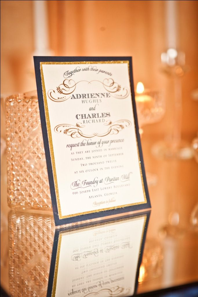 From Paris with Love. Navy & Gold Inspiration. Invitation.    Design & Planning – Lemiga Events Floral – Jackson Durham Linen – I Do Linens Stationery – Papered Wonders Calligraphy – Hollis for Lemiga Events Drape – Event Drapery Chandeliers & Vintage Rentals – The Funky Shack Rentals – We Rent Atlanta Lighting – Unique Event Management Wedding Cake & Mini Cakes – For Goodness Cakes Photography – Claudia McDade