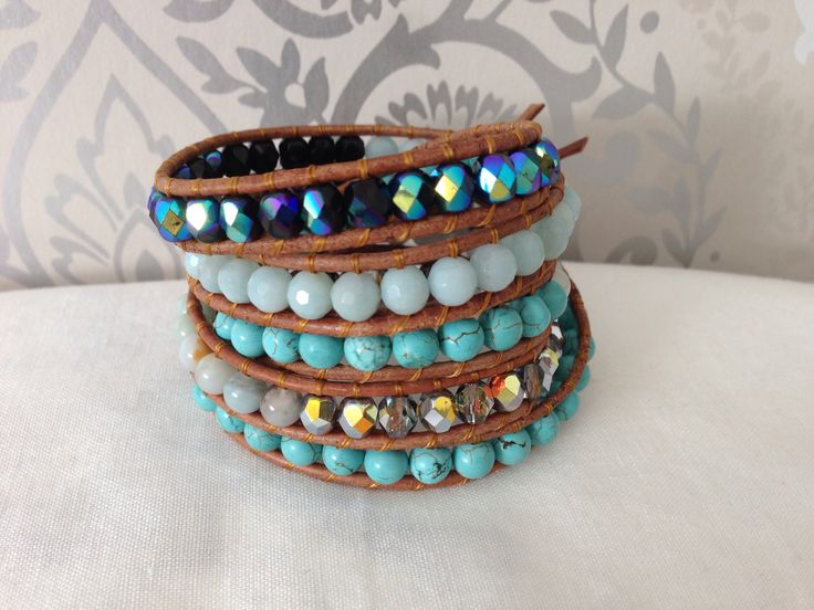 """""""Heal me"""" wrap bracelet with turqouise , Amazonit and czech beads."""