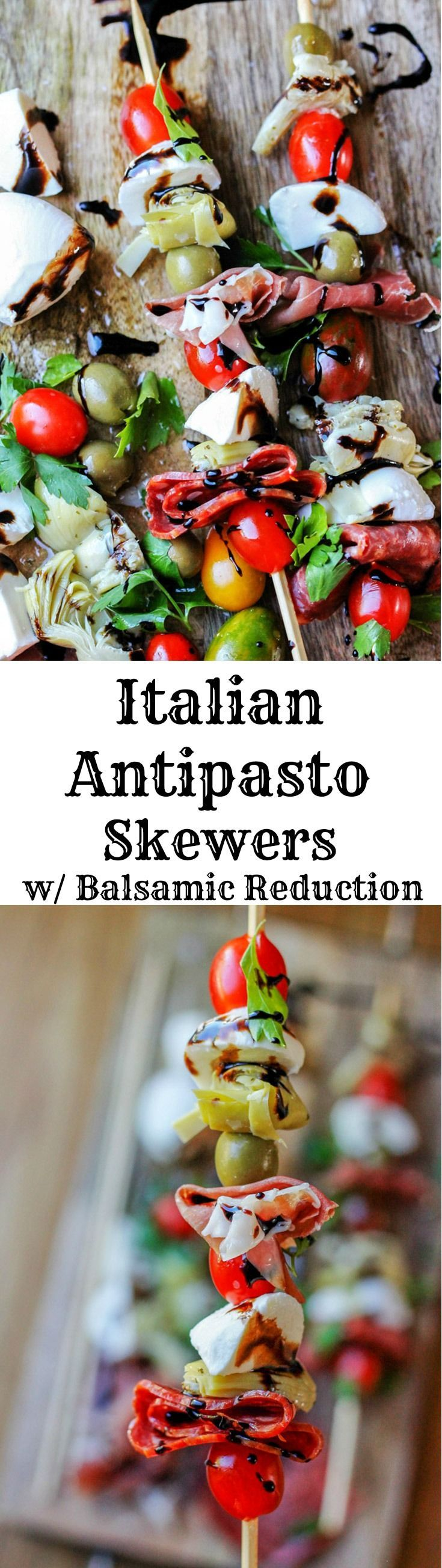 Italian Antipasto Skewers are perfect little bites of traditional Italian appetizer on a stick. Delicious combination of cured meats, mozzarella balls, marinated artichoke hearts, cherry tomatoes and olives drizzled with the balsamic reduction makes for one awesome crowd pleaser.