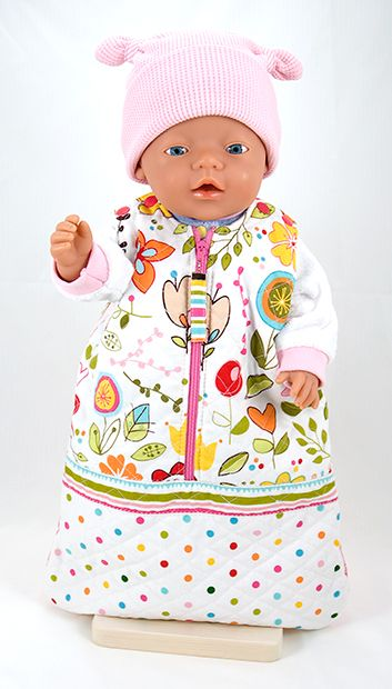 This free doll snuggy sack pattern is suitable for Zapf BABY Born®* dolls. - also links to other doll's clothes patterns. Score.