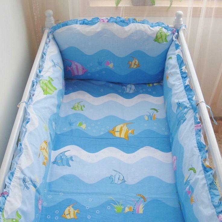 (34.85$)  Buy here  - Blue Cartoon Fish Ocean Baby Boy Crib Bedding Set,10pcs Baby Quilt Cot Bedding,Infant Bed Sheets Crib Bumper Comforter Organizer