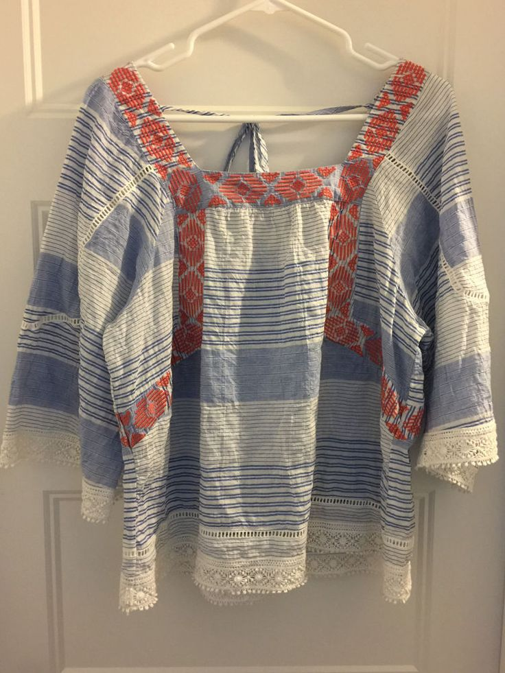 Democracy Blue Cream Coral Lace babydoll Peasant Top Shirt  Embroidered L EXC #Democracy #Blouse #Casual