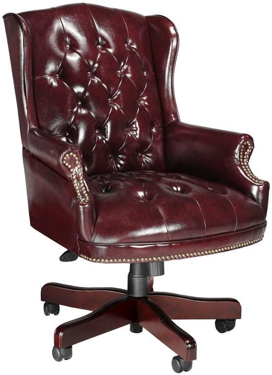 Traditional Desk Chair to go with Doogy's Executive Desk in his new Home Office - Oxblood Leather Desk Chair -  $341.00  Plus 10% off & Free Shipping