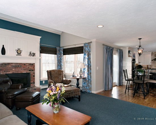 Teal Accent Wall Traditional Family Room By Divine Kitchens LLC This Is Almost Out Exact Layout For Living Minus Fireplace