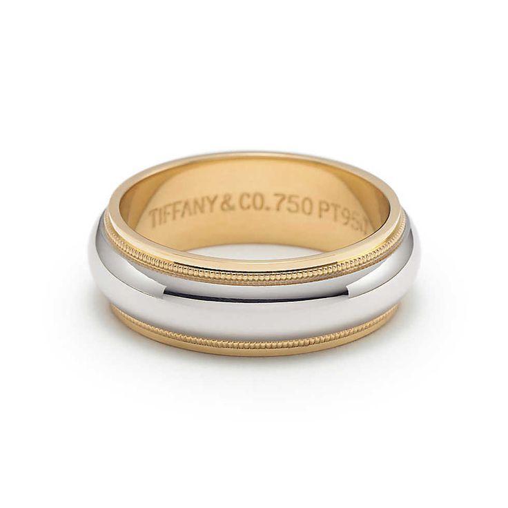 Platinum Double Milgrain 6mm Wide Flat Wedding Band Ring: Milgrain Wedding Band Ring In Platinum And 18k Gold, 6mm
