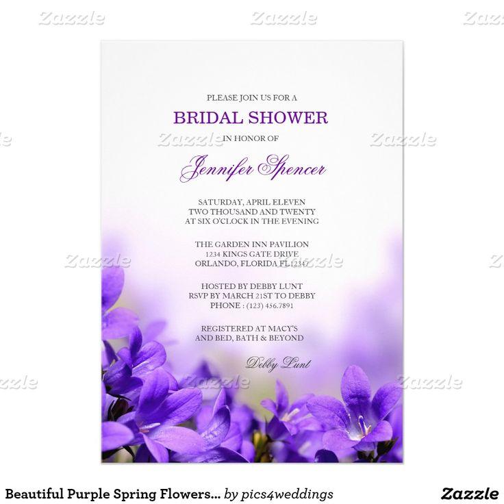 Beautiful Purple Spring Flowers Bridal Shower Invitation