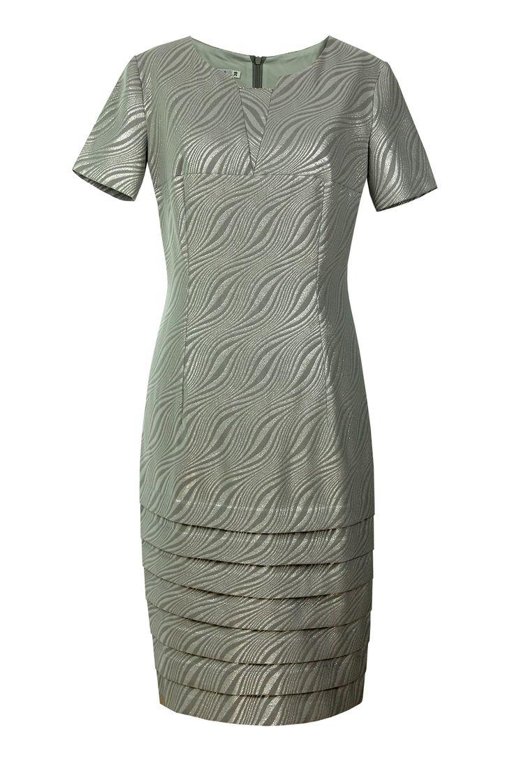 Sukienka Roberta srebrny żakard w fale Semper #dress #metallic #jacquard #silver #grey #fashion2016 #fashionbrand #occasionaldress #wedding #elegance #elegant #evening #designer #brand