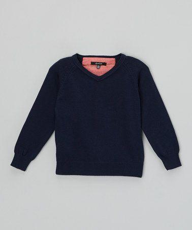 Look at this #zulilyfind! Navy Suede Elbow Patch v-Neck Sweater - Toddler & Boys by GIL & JAS #zulilyfinds