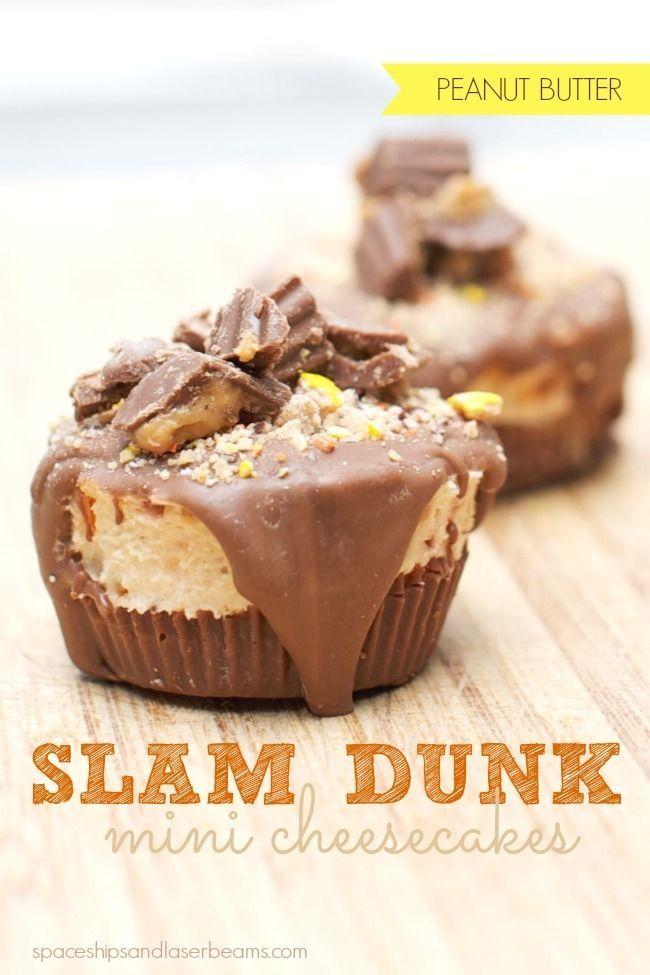 National Cheesecake day is today (7/30) Reese's Slam Dunk No Bake Cheesecake - Spaceships and Laser Beams