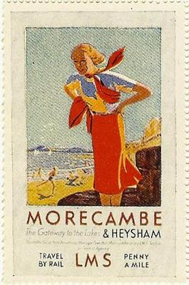 British Railway poster stamp original c.1930 Morecambe & Heysham Lancaster UK