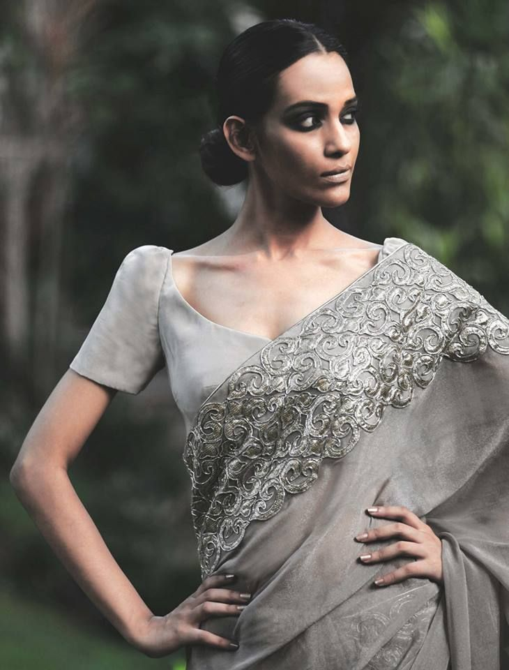 Sophisticated, sequined, simple. Grey saree for attending a wedding. #Indian