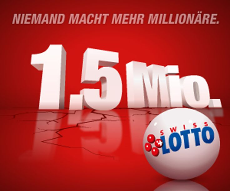 Am Mittwoch gibt es bis zu 1'500'000 Franken mit Swiss Lotto zu gewinnen!  Setze jetzt dein Spielguthaben aus einem Swisslos-Wettbewerb ein, denn du kannst 1'500'000 Franken gewinnen.  Hier 1'500'000 Franken gewinnen: http://www.gratis-schweiz.ch/gewinne-1500000-franken-mit-swiss-lotto/  Alle Wettbewerbe: http://www.gratis-schweiz.ch/