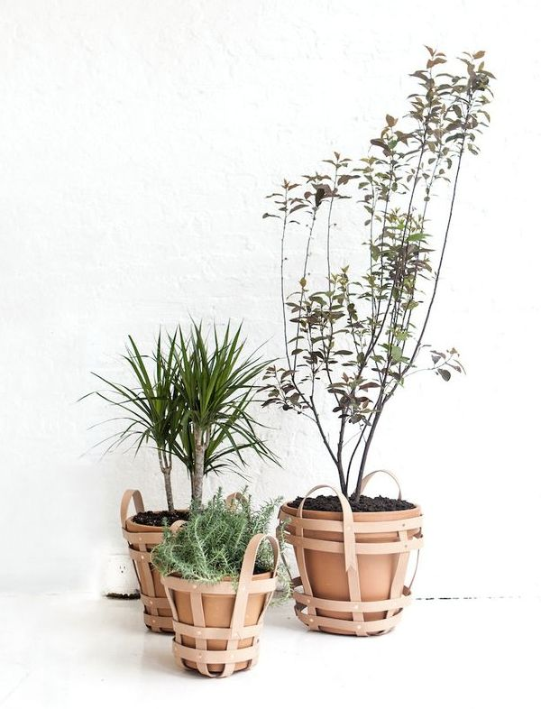 Leather planter baskets.