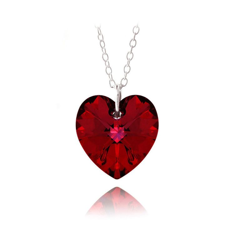 Silver Ruby Swarovski Heart Necklace
