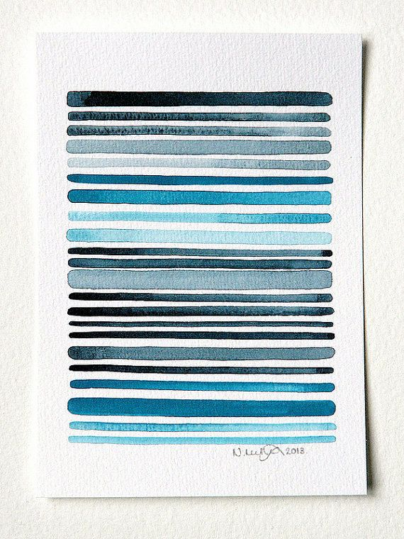 Ocean 1 - Original Minimalist Abstract Watercolor Painting - Grey, Turquoise, Blue Painting - by Natasha Newton