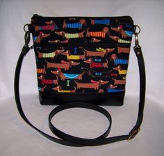 Black Dachshund-Wiener Dog Cross-Body Bag - Made to Order by OscarsCreations on Etsy