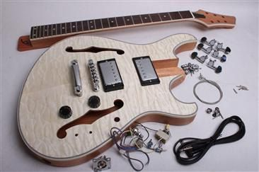 Electric Guitar Kit- Carved Top Semi Hollow SKU: BYO-CT-SH2 Building your own electric guitar has never been easier! Here is your chance to express