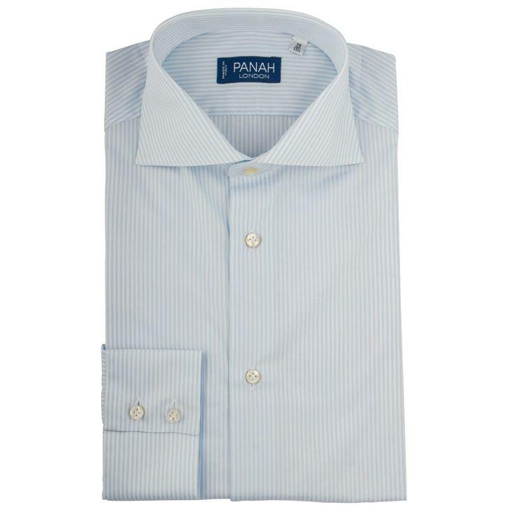 Sky Stripe Cutaway Collar Shirt |Panah London| £79.00