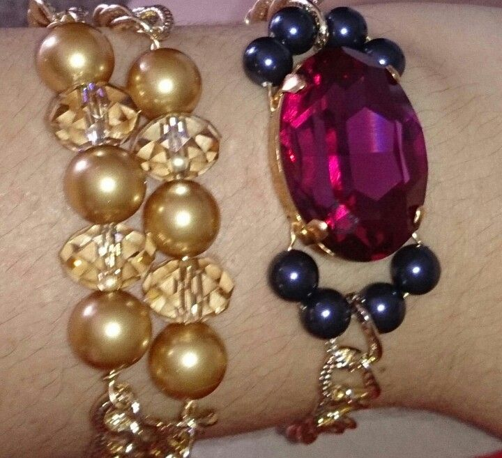 Colour colour colour. Layered bracelets is the way to go. These are two new pieces that go well together.