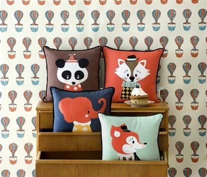 "A Marionette cushion set of Norwegian design duo Darling Clementine, the very cute ""Marionette Collection"" of four cushion designs.   Ingrid Reithaug and Tonje Holand are the creative masterminds behind Darling Clementine, a Norwegian design company that specialises in stationery designs for all occasions. Their designs are a perfect combination of detail, humour, unique colour schemes and Scandinavian design heritage.    Posey Panda, Elle Elephant, Aristo Katt and Mr Frank Fox."