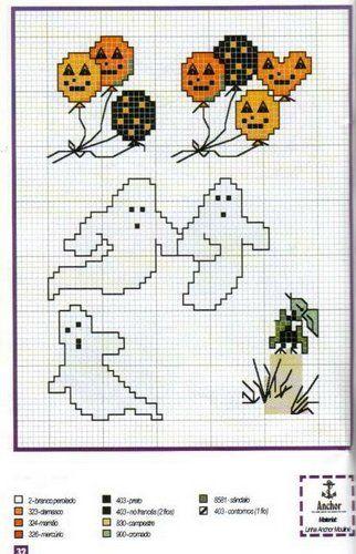 Fantasmini; Halloween motifs quick to stitch halloween balloons and ghosts.