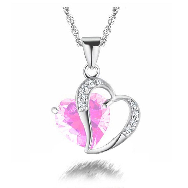 Pendentifs Strass Cristal Mode pour Femmes Collier #Coeur en Cristal #rose et plaqué Argent et Alliage de zinc