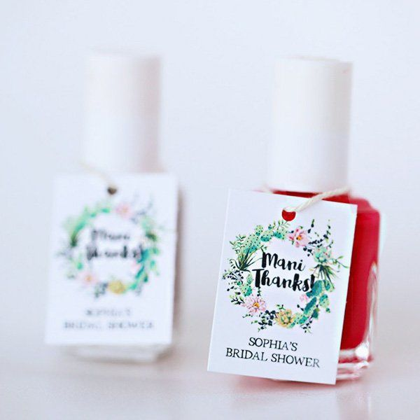"""Say """"Mani Thanks"""" with a nail polish favor your guests will put to good use."""