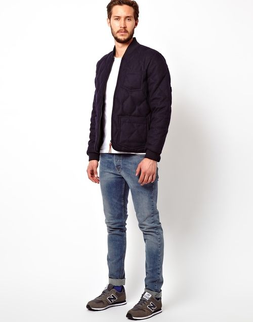 Get hold of the Lee 101 Quilted Jacket with free worldwide delivery @ ASOS Wool is packed with real down, has a unique diamond quilt construction, ribbed collar  cuffs.