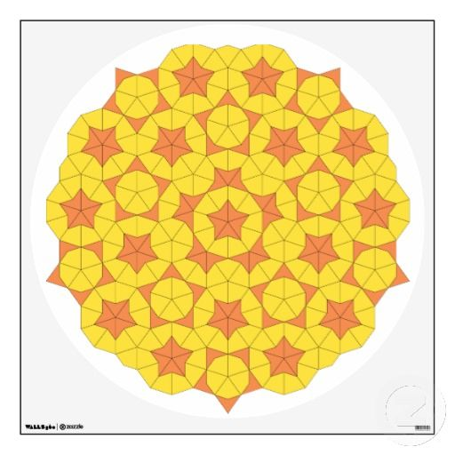 """Penrose Sun Tile Wall Decal- The Penrose Sun, in all its glory. Available in all sizes, it shows the many patterns arising from just two basic shapes- """"darts"""" and """"kites""""."""