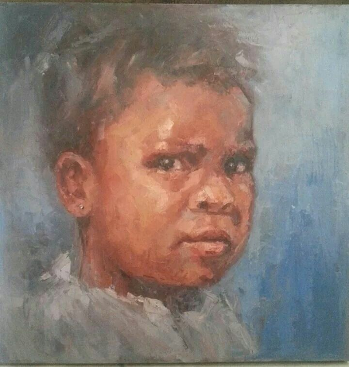 Kenyan Girl 70x70cm Oil on canvas