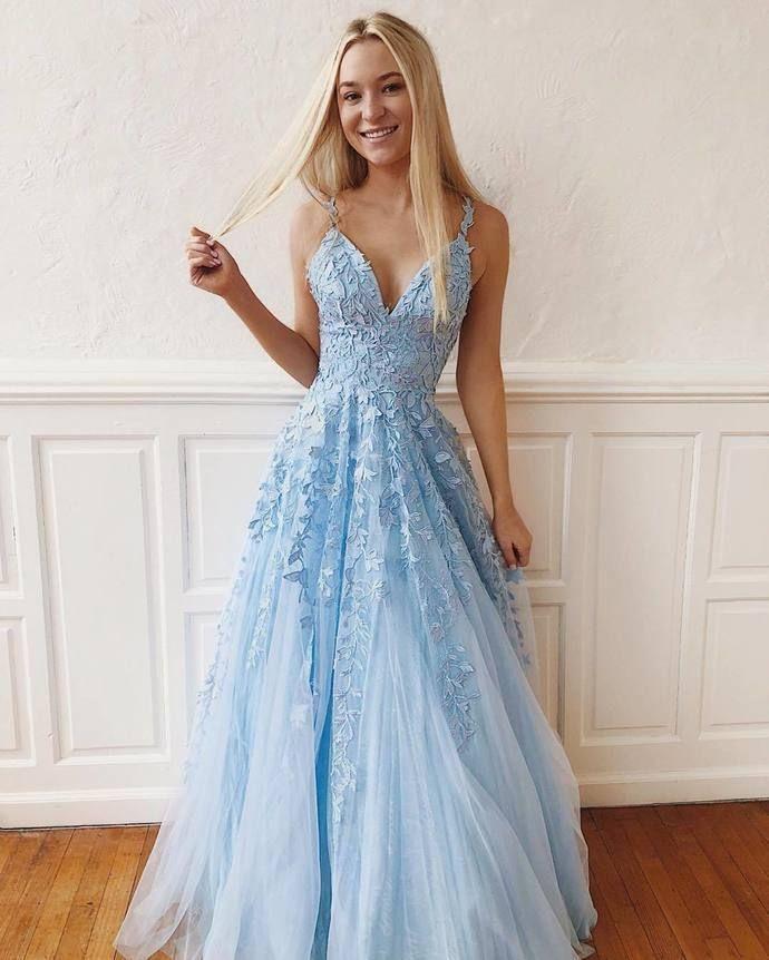 Elegante Spitze Abendkleider V-Ausschnitt Langes Abendkleid Tüll Abendkleid Formale Kleider Günstige Abendkleider G5225 – Ballkleider