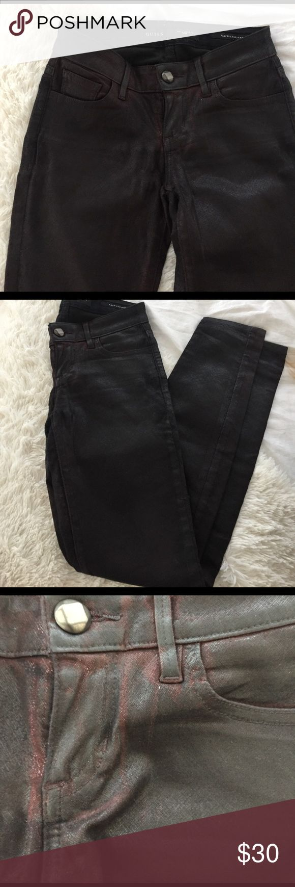 GUESS Kate Oxblood Jeans Gorgeous dark maroon skinny jeans with a sheen and ample stretch for comfort. Worn only a few times, great condition. Guess Jeans Skinny