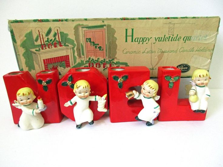 Napco NOEL Angels, NOEL Letter Vases, NOEL Candle Holders, Mid Century Christmas Decor, 1956 Napco Ceramic Christmas Angels  – Christmas – Vintage Noels
