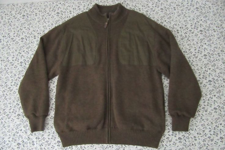Orvis Full Zip 100% Wool Sweater Jacket Mens XL Foul Weather Cardigan Shooting #Orvis #Cardigan