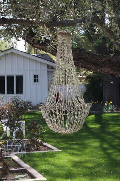 Awesome chandelier out of metal hanging basket