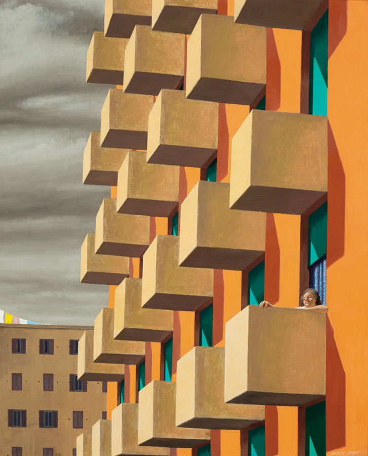 'Holiday' 1971  Jeffery Smart ( Frank Jeffrey Edson Smart, AO (26 July 1921 – 20 June 2013) was an expatriate Australian painter known for his precisionist depictions of urban landscapes.)