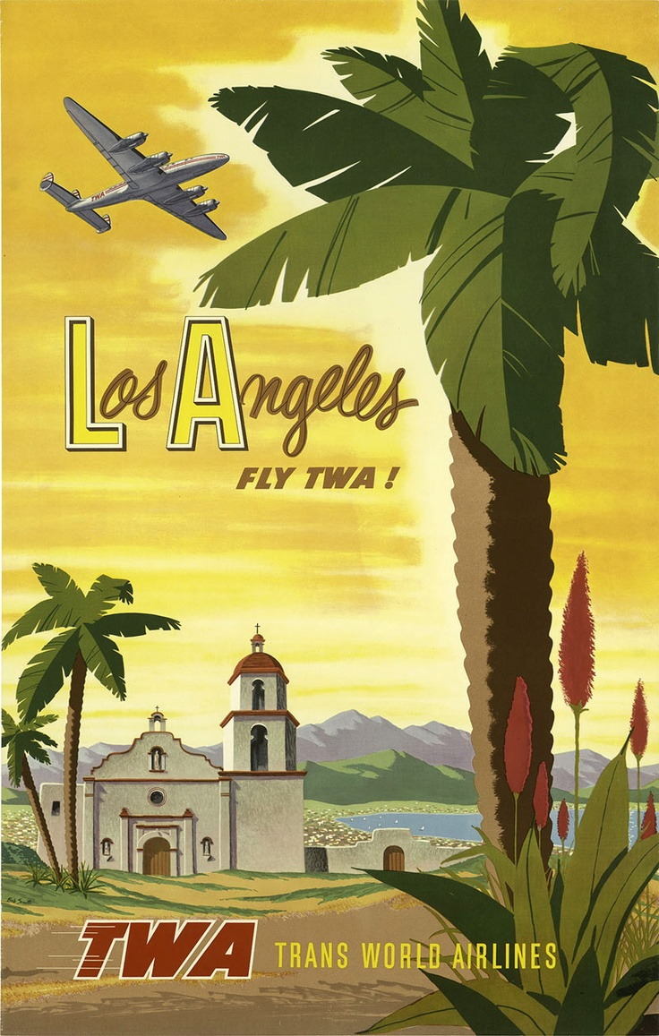 Poster design los angeles - Details About Vintage Art Twa Airlines Travel Poster Los Angeles Palm